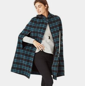 Kate Spade Saturday Plaid Cape Coat Size XS/S